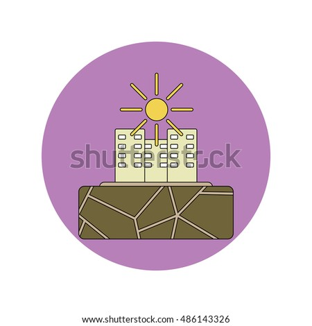 Vector illustration in flat design of cracked earth and buildings