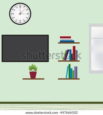 Vector illustration in flat design of interior of modern room in minimalist design - stock vector