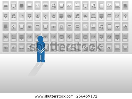 Vector illustration in flat design with icons. Clueless person overwhelmed by big data and looking for help and answers how to analyze the information from social media, devices and data sources - stock vector