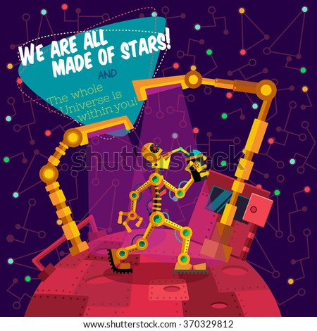 Vector illustration in flat style about outer space and robot. Planets in the universe. Greeting card