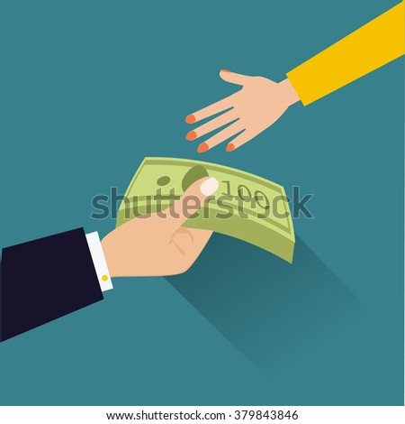 vector illustration in flat style, hand giving money to other hand - stock vector
