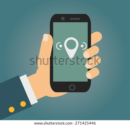 Vector illustration in flat style - male hand holding mobile phone with free wi fi sign on the screen - stock vector
