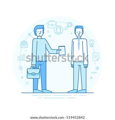 Vector illustration in modern flat linear style and infographic design elements - human resources concept -searching professional staff - agreement and contract for new employee