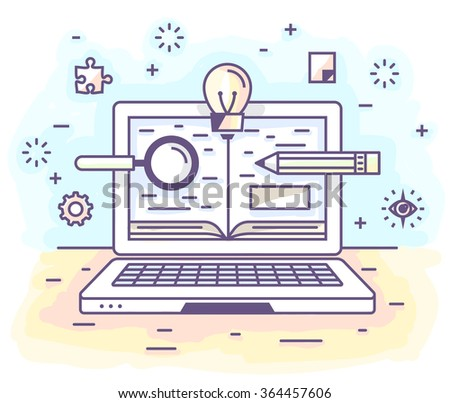 Vector illustration in modern flat style. Online education, distance learning,personal laptop, valuable knowledge. - stock vector