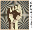 Vector illustration in retro style of a clenched fist held high in protest. - stock photo