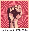 Vector illustration in retro style of a clenched fist held high in protest. - stock vector