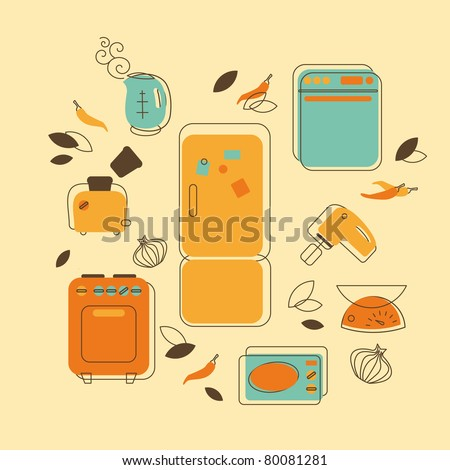 Vector illustration in retro-style - set of kitchen home appliances - stock vector