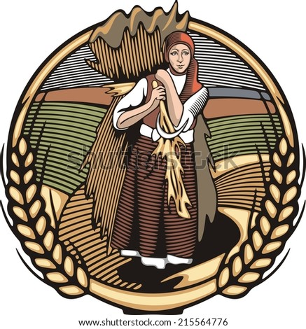 Vector illustration in retro woodcut style of a young female farmer, carrying grain harvest. - stock vector