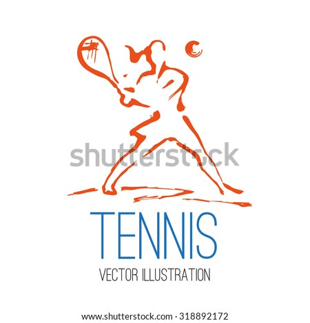 Vector illustration in style sumi-e with a silhouette of women tennis players and space for text - stock vector