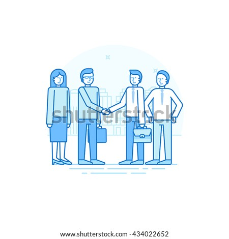 Vector illustration in trendy flat linear style in blue colors - business agreement and team building concept - women and men shaking hands - start up development and investment attracting - stock vector