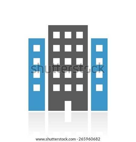 Vector illustration includes a single, color, Office Building icon on a white background. - stock vector