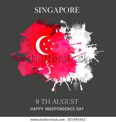 Vector illustration Independence day of Singapore. - stock vector