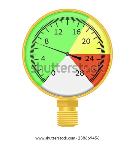 Vector  illustration -  industrial barometer high pressure wish three color zone. Isolated on white background. EPS 10. - stock vector