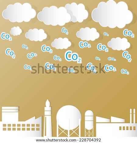 Vector illustration Industrial Pollution Global warming - stock vector