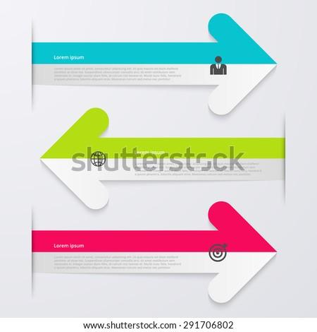Vector illustration infographics 3 arrows. - stock vector