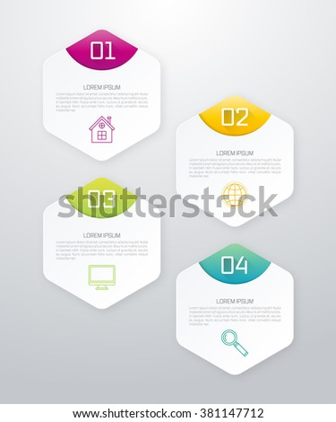 Vector illustration infographics four options hexagons. Stock vector