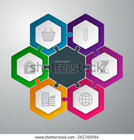 Vector illustration infographics hexagons connected puzzle - stock vector
