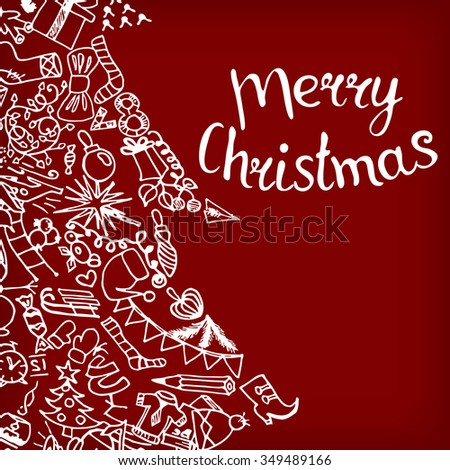 Vector illustration inscription Merry Christmas handmade. Xmas tree - Zen Tangle, dudling. - stock vector