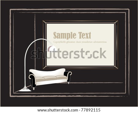 vector illustration. Interior design scene with a vintage frame and lamp on wall with texture.