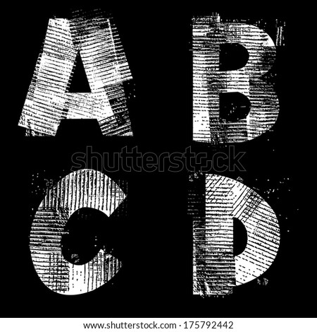 Vector Illustration, Isolated Alphabet, Industrial Style, ABCD. - stock vector