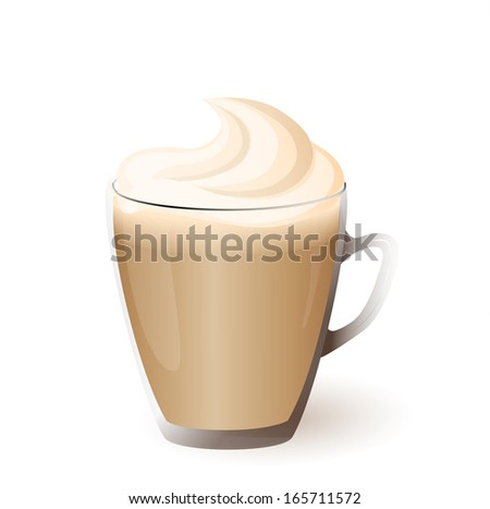 vector illustration isolated cup of cappuccino - eps10 - stock vector