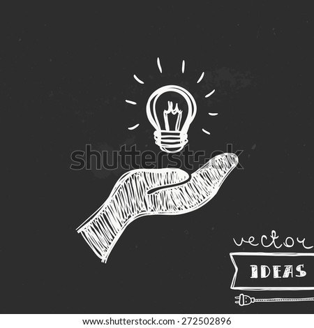 Vector illustration isolated on black, solution and idea concept, hand-drawn light bulb in a hand - stock vector