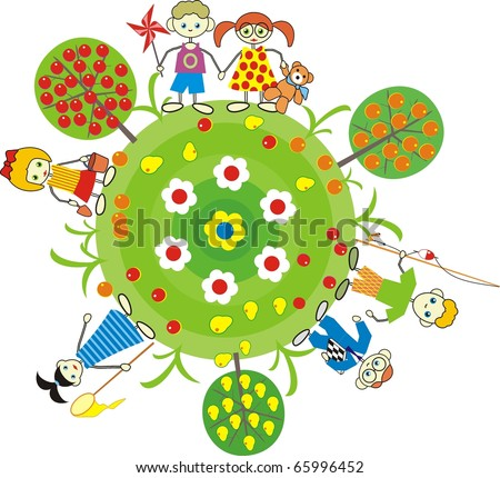 Vector illustration isolated on the theme of love and friendship - the children with toys in fruit garden on the Earth - stock vector