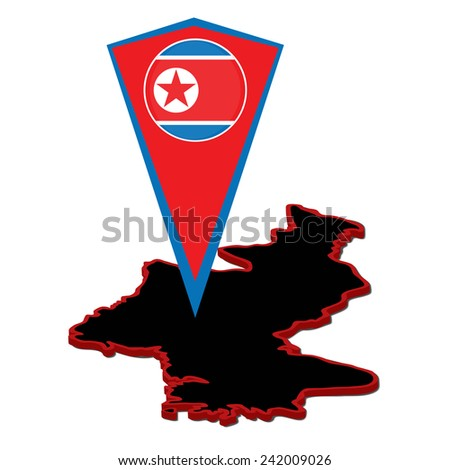 Vector illustration, isolated on white background. DPRK map and marker for map. Ambience silhouette in North Korea (Democratic People's Republic of Korea). - stock vector