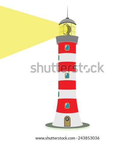 Vector illustration isolated on white background. Striped red-white lighthouse. Traced small details. Easily editable. - stock vector