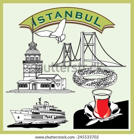 Vector illustration Istanbul Pictogram Set - stock vector