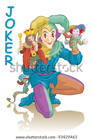 Vector illustration, joker harlequin wielding puppets, card concept, white background. - stock vector