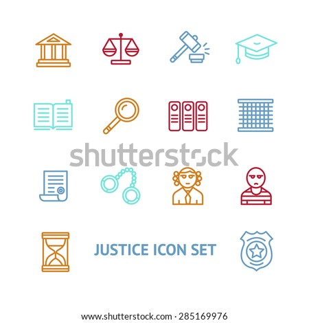 Vector illustration  justice law colorful outline icon set   The concept of justice - stock vector