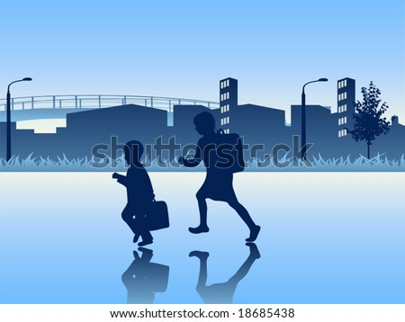 Vector illustration. Kids going to the school