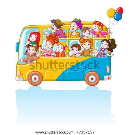 Vector illustration, kids in bus, cartoon concept, white background. - stock vector