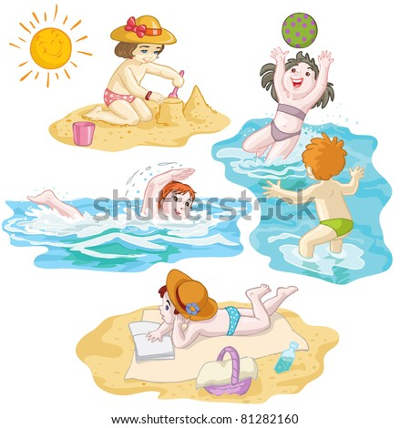 Vector illustration, kids in vacation at seaside, card concept. - stock vector