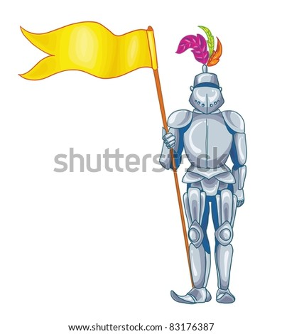 vector illustration-knight in shining armour in his hand, on white background - stock vector
