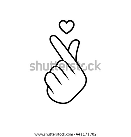 Vector Illustration Korean Symbol Hand Heart Stock Vector 441171982