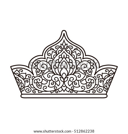 Vector Illustration Lace Pattern Crown Coloring Stock Vector ...