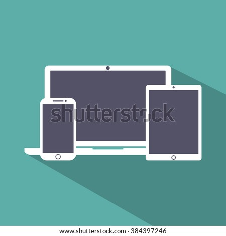 vector illustration laptop, phone, tablet silhouettes,outlines,icons on background,with empty screen, EPS10 - stock vector