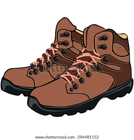Vector illustration, leather boots, cartoon concept, white background.