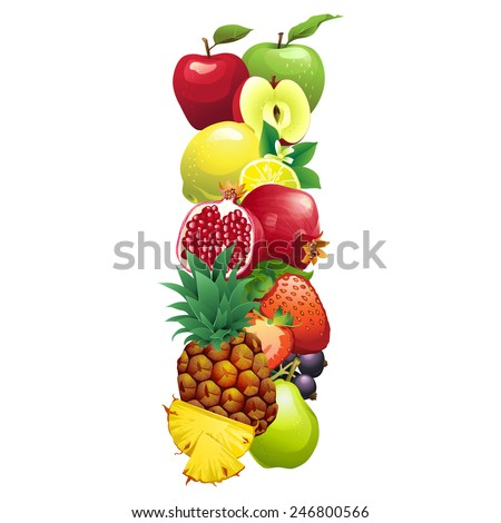 Vector illustration Letter I composed of different fruits with leaves - stock vector