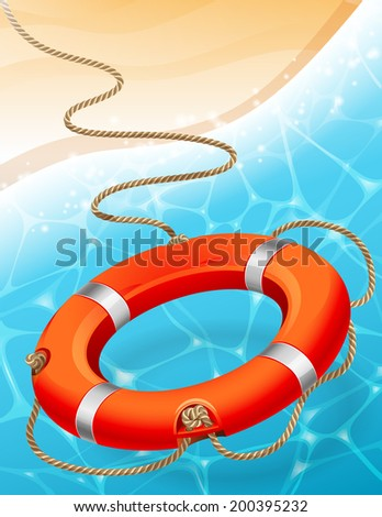 Vector illustration - lifebuoy on water background  - stock vector