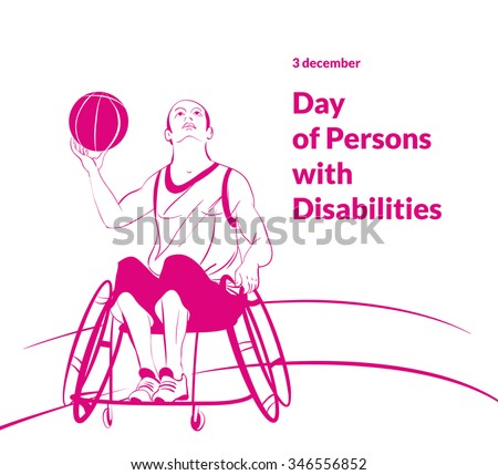 vector illustration line art poster to world day of persons with disabilities with a man sitting in a wheelchair in shorts and T-shirt Basketball Ball in hand - stock vector