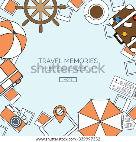 Vector illustration, lined. World travel concept background. Tourism. Holidays, vacation. Sea, ocean, land, air travelling.  - stock vector