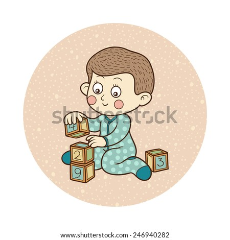Vector illustration: little boy and cubes - stock vector