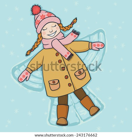 Vector illustration. Little girl with plaits playing in the snow and making an angel.  - stock vector