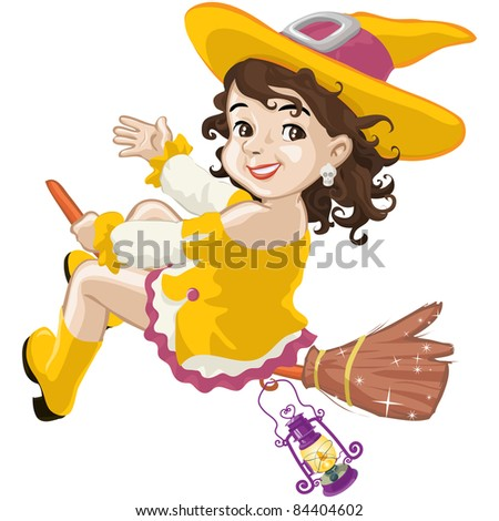 Vector illustration, little witch says hello on Halloween, cartoon concept, white background. - stock vector