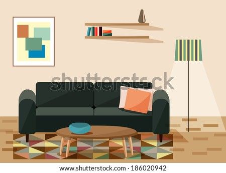 vector illustration ,living room  - stock vector