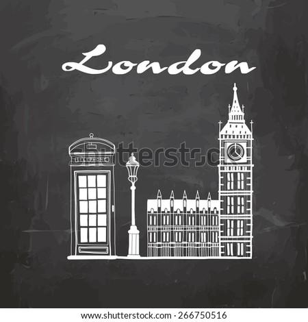 Vector illustration London Big Ben, a telephone booth on the blackboard - stock vector