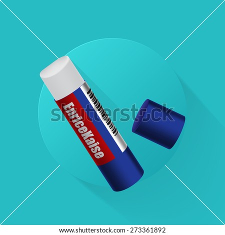 Vector illustration long shadow flat icon of glue stick - stock vector